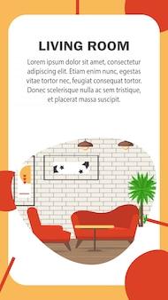 Wohnzimmer-websitevektor-fahnenschablone.