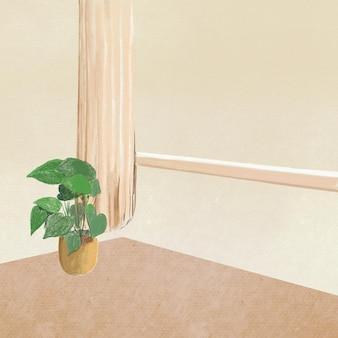 Wohnzimmerhintergrundfarbstiftillustration