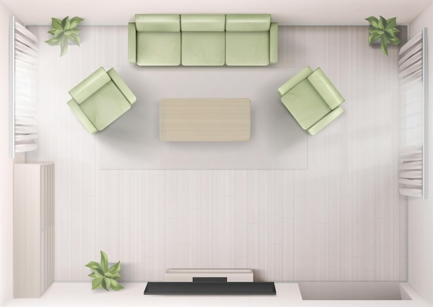 Wohnzimmerinnenansicht von oben mit sofa-tv-sesseln und couchtisch nach hause rendern mit fernseher an der wand moderne hauswohnung mit möbeln