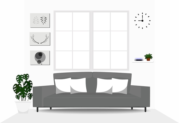 Wohnzimmerinnenarchitektur mit grauem sofa