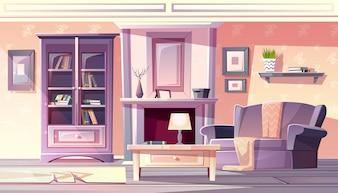 Wohnzimmerinnenillustration der Wohnung in Weinlese französischer Provence gemütlich bequem