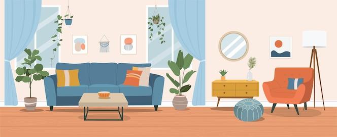 Wohnzimmerinnenraum. flache karikaturillustration