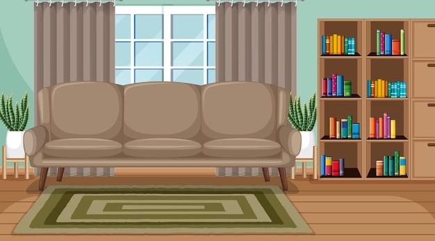 Wohnzimmerinnenszene mit möbeln und wohnzimmerdekoration