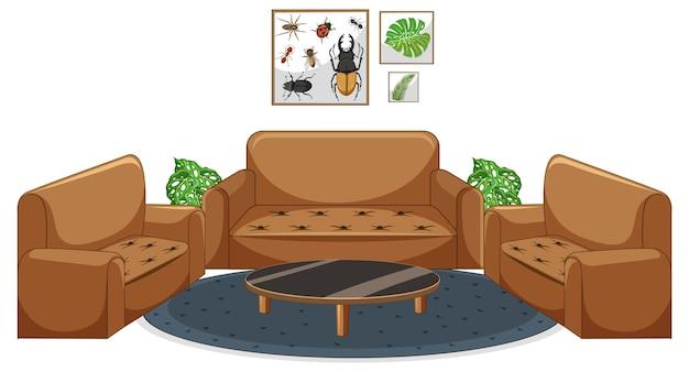 Wohnzimmermöbel auf weißem hintergrund