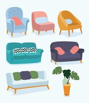 Wohnzimmermöbel-designkonzept mit modernen wohnelementen isolierte vektorillustration ...