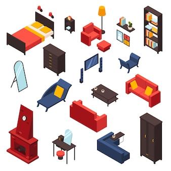 Wohnzimmermöbel-ikonen eingestellt