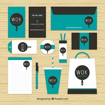 Wok briefpapier-set