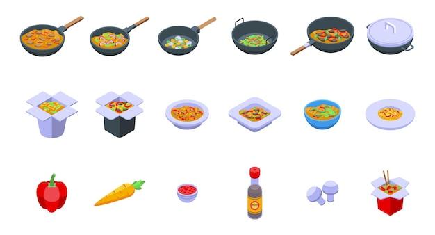 Wok-menüsymbole gesetzt. isometrischer satz wok-menüvektorikonen für das webdesign lokalisiert auf weißem hintergrund