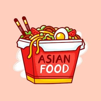 Wok nudel box logo. flache linie cartoon illustration symbol. auf weißem hintergrund isoliert. asiatisches essen, nudel, wok-box-logo-konzept