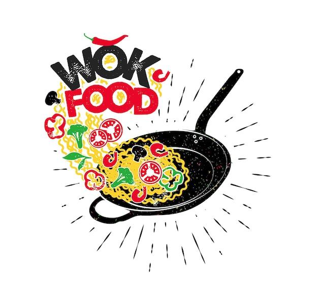 Wok-pfanne. asiatisches fastfood. handgezeichnete typografie poster.vector typografie.