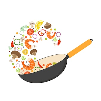 Wokpfanne, tomate, paprika, pfeffer, pilz, garnele. asiatisches essen. fliegendes gemüse mit meeresfrüchten.
