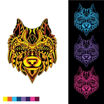 Wolf aus dekorativem muster mit im dunkeln leuchtendem farbsatz