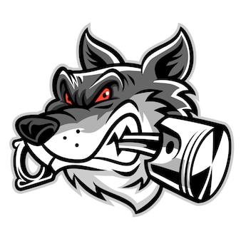Wolf beißt auf den kolben