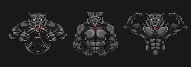 Wolf bodybuilder illustration