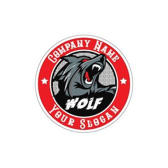 Wolf brüllt logo mit kreisabzeichen