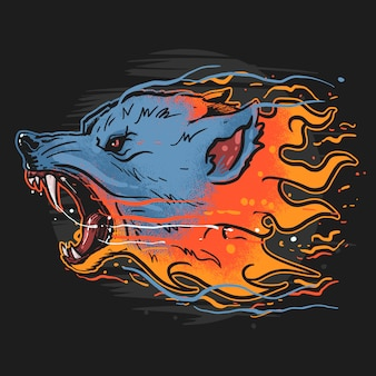 Wolf fire beast wild artwork