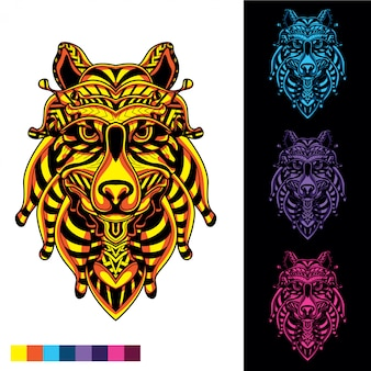 Wolf gesicht aus dekorativen mustern im dunkeln leuchten