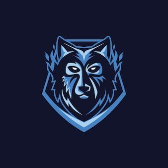 Wolf-gesichts-maskoten-logo
