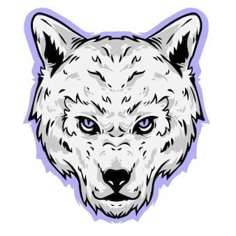 Wolf gruseliges gesicht wütend kopf design