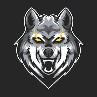 Wolf head esport logo team für spiele