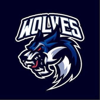 Wolf head maskottchen logo für das esport- und sportteam