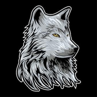 Wolf head vector illustration auf dunklem hintergrund