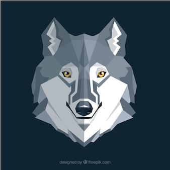 Wolf hintergrund in flachen design