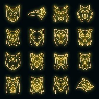 Wolf icons set vektor neon