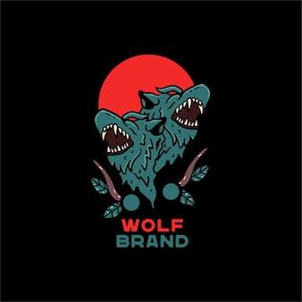 Wolf illustration handgezeichnet im japanischen stil