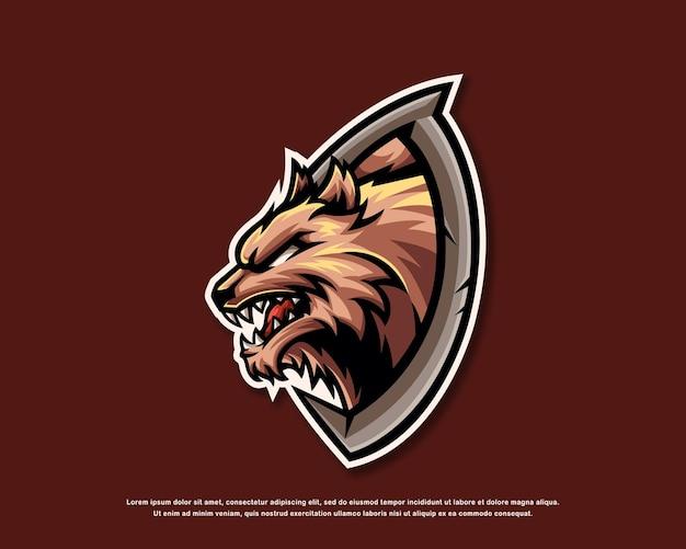 Wolf logo maskottchen design