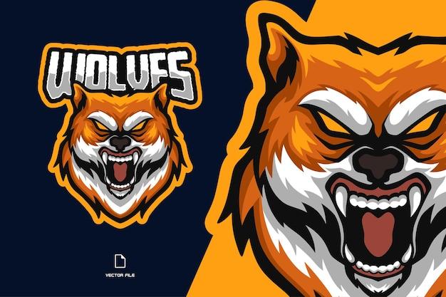 Wolf maskottchen esport logo illustration