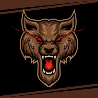 Wolf-maskottchen für sport- und esport-logo