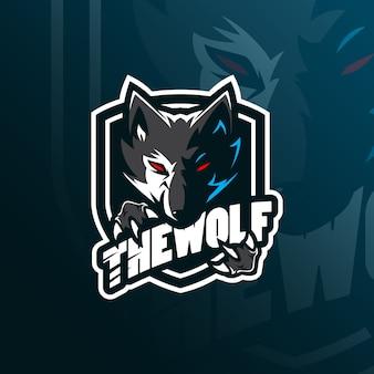 Wolf-maskottchen-logo mit modernem illustrationsstil für abzeichen-, emblem- und t-shirt-druck.