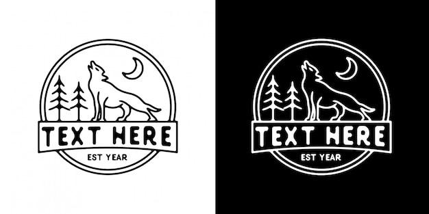 Wolf mit baum logo vorlage monoline