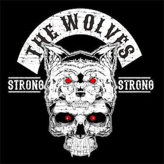 Wolf mit der schädelhandzeichnung handzeichnung