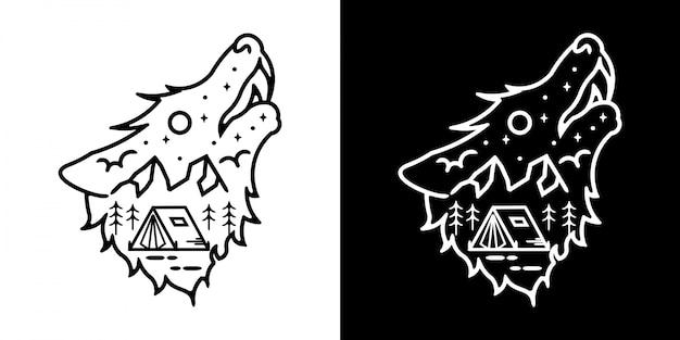 Wolf mit landschaftsillustration vintage minimalistisches design