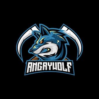 Wolf mit scythe crossed vector für esport-logo oder spielmaskoten