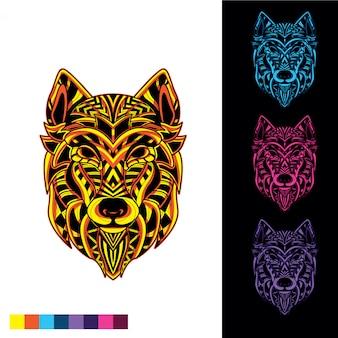 Wolf mosaik aus dekorativem muster mit im dunkeln leuchten gesetzt