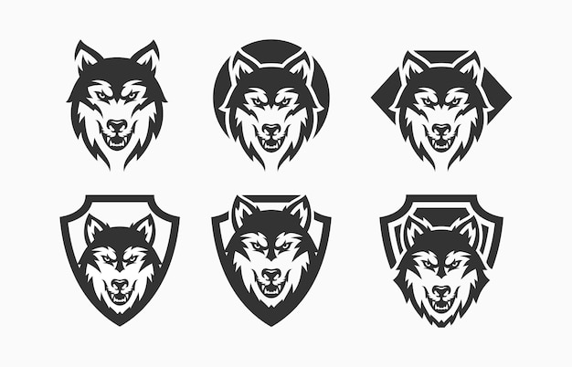 Wolf set abstraktes logo