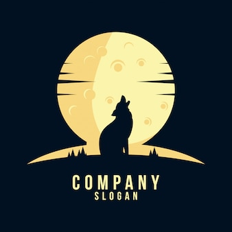 Wolf silhouette logo design