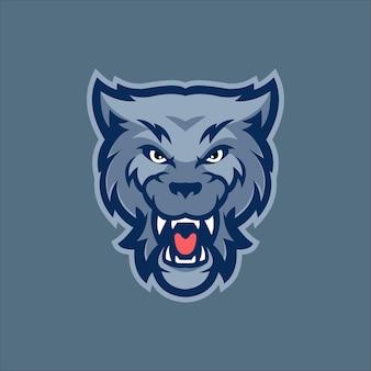 Wolf tierkopf cartoon logo vorlage illustration. esport logo spiel premium-vektor