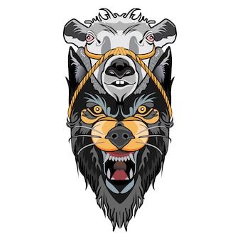 Wolf und gruselige ziege