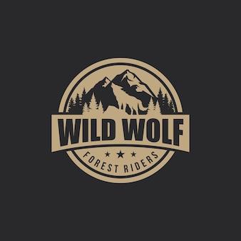 Wolf vintage logo vektor auf lager