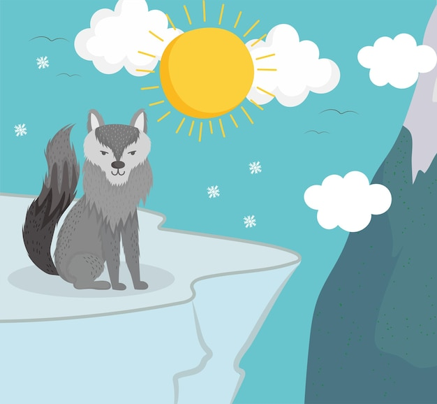 Wolf winterschneeflocken