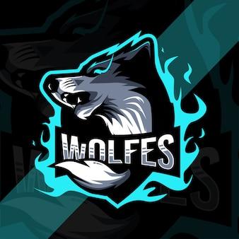 Wolf wütend maskottchen logo design