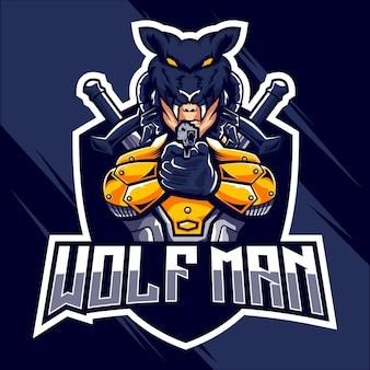 Wolfman esports logo design logo design