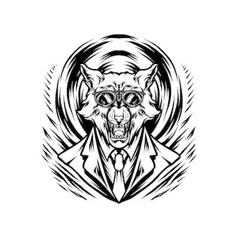 Wolfman mafia illustration silhouette