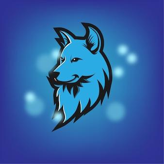 Wolfsblaues maskottchen-logo stark