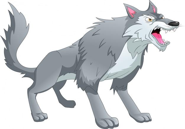Wolfskarikatur auf einem weißen hintergrund