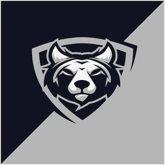Wolfskopf-logo für sport- oder esportmannschaft.
